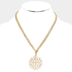 Gold Metal Filigree Toggle Pendant Necklace